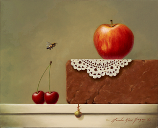Fruit And Lace  - 8 x 10 oil on canvas by LindaRHerzog