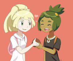 Hau and Lillie Sharing Maladada (Snowlilyshipping) by PrincessLocket