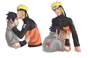NaruSasu: Apology Kisses by biscutpoo
