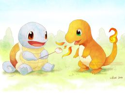 Charmander and Squirtle by Derlaine8