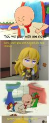 Caillou gets Humiliated by Chibi Yang! by Kleiner-Jay