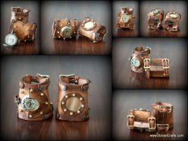 Steampunk Bracers witha Wristwatch by DorianPipes