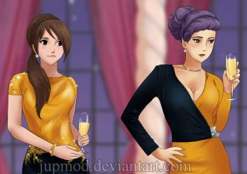 Party Lessons: Ayame and Yugao (Close-up) by JuPMod