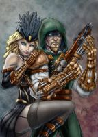 Steampunk Green Arrow and Black Canary by belgerles