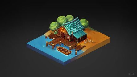 Isometric Fisherman House by Sephiroth-Art