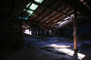 sagging roof, Box Hill Brickworks by thespook