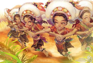 Taiwanese aborigine Amis tribe celebrates Harvest by bcnyArt