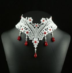 White and Red Lace Choker by Lincey