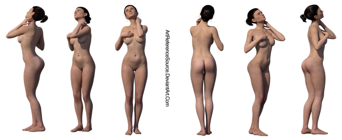 Stock:  Free PNG woman in shower various angles by ArtReferenceSource
