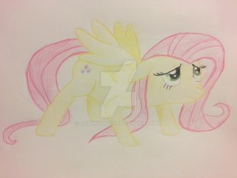 Fluttershy drawing for cowboyjt by ChuckyAndy