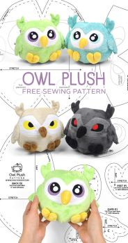 Owl Plush Sewing Pattern by SewDesuNe