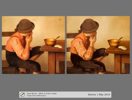 Boy with Bread Color Study 2 by rattree
