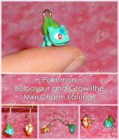 Pokemon - Mini Bulbasaur and Growlithe Charms