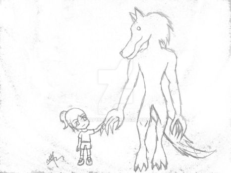 Werewolf and Little Girl by nap1991