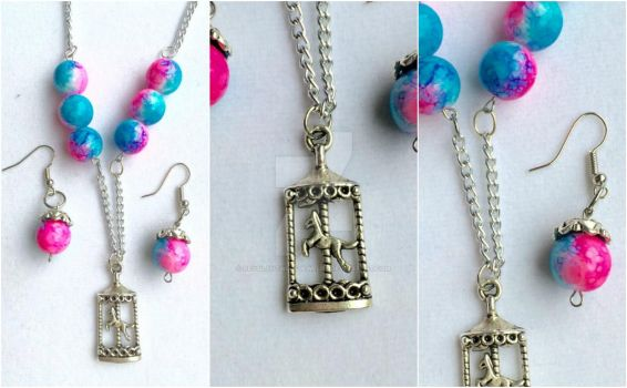Cotton Candy Carousel Jewelry Set by RedSilentWolfJewelry