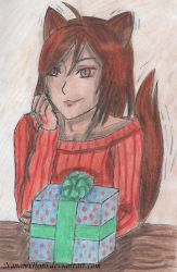 The Wolf with a gift by NanamiHoro