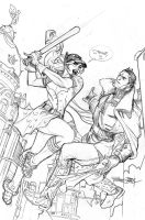 Bombshells United 11 Cover Pencils by TerryDodson