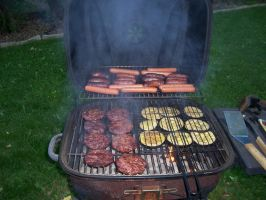 Grilled eggplant, burgers and hotdogs summer day by caspercrafts