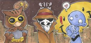 Watchmen card trio by katiecandraw
