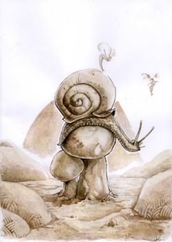 A Snail on Mushrooms by i-am-mighty