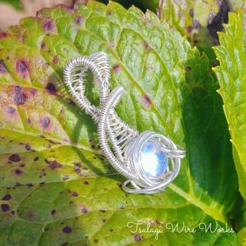Moonstone Sterling Silver Wire Wrapped Pendant by TsalagiWireWorks