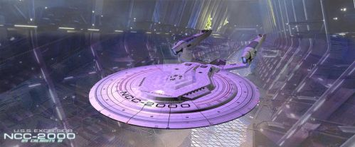 USS Excelsior in spacedock by calamitySi