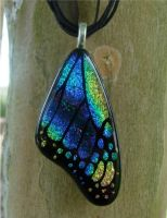 Blue Rainbow Glass Wing by FusedElegance