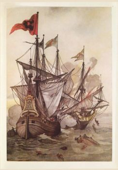 Old Illustration: PIRATE Claes Compaen ATTACKS by James-B-Roger