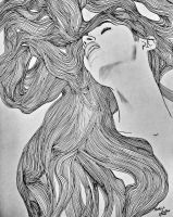 Girl hair line drawing by MOHIT KUMAR RAO ARTIST  by mohitkumarrao