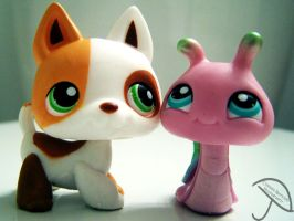 LPS Dog and Snail. by ChelseaIsAPansy