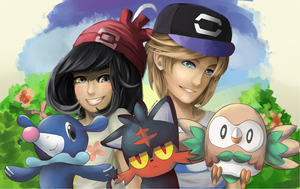 Pokemon Sun and Moon Trainers and Starter Pokemon by AriSotnia