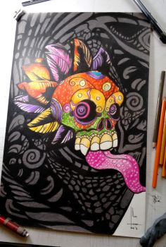 Colored Skull Comission by SubliminAlex