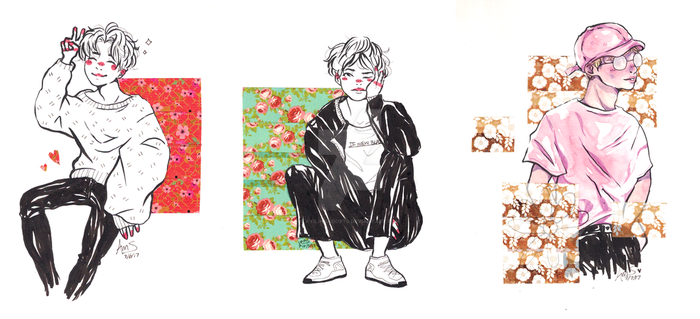 bts x floral washi set [+COMMISSION INFO] by ayilingadopts