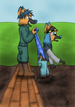 Kayl 'Helps' His Little Brother by Wedgie-Fox