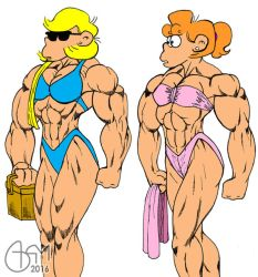 Andy and Paige hit the beach Flat colour by AlphaCentaurian
