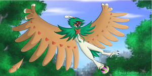 The flight of Decidueye by Lu-Lubianse