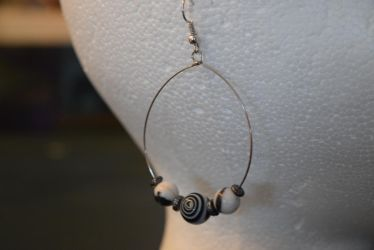 Black and White Dangle Hoop Earrings by Gossamier