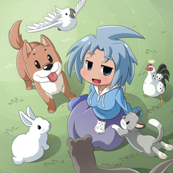 Nath with animals by Coffgirl