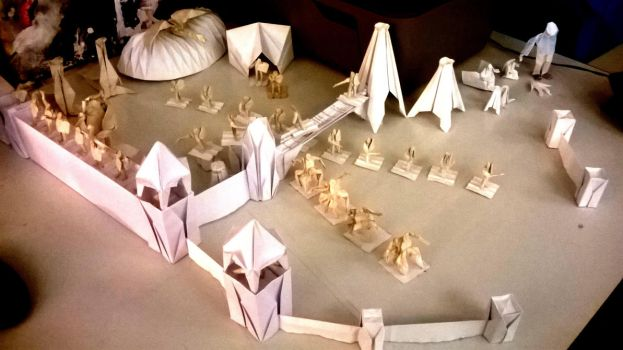 Origami castle with army 2 by WilliamClinch