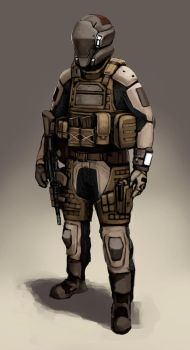 Futuristic soldier concept by FonteArt