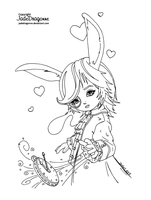 The white rabbit - Lineart by JadeDragonne