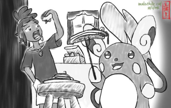 Inktober 2016 5+6 - Hau and Raichu by malachitecat