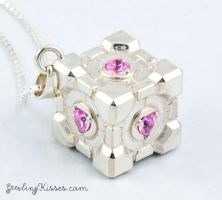 Portal Companion Cube Pendant by Sketchy-Stories
