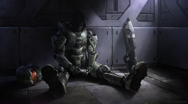 Beneath the mask of the Master Chief by Rafal-Banasiak