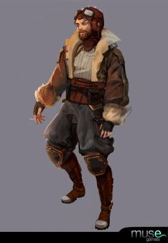 Early Concept - Bearded Pilot by musegames