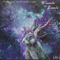 Resplendent Jackalope - Acrylics on Canvas by WeaselsOnEasels