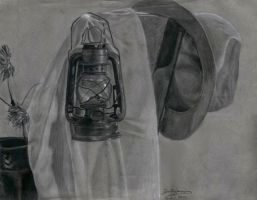 The Lamp - charcoal by ObsidianPyre