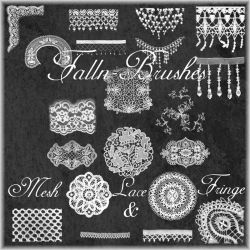 Mesh Lace and Fringe Brushes by Falln-Stock