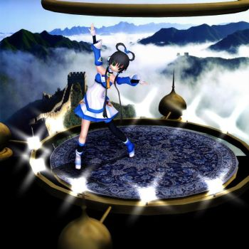 MMD Oriental Dream Stage Set - Blue Carpet add on by Trackdancer