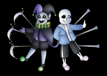Jevil and sans by LalaEX